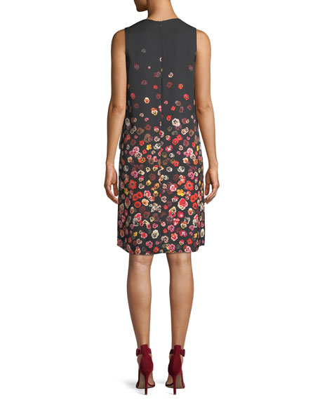 Jezeble V-Neck Sleeveless Floral-Print Silk Shift Dress