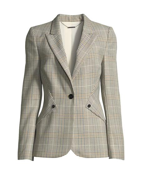 Allegra Glen Plaid One-Button Jacket