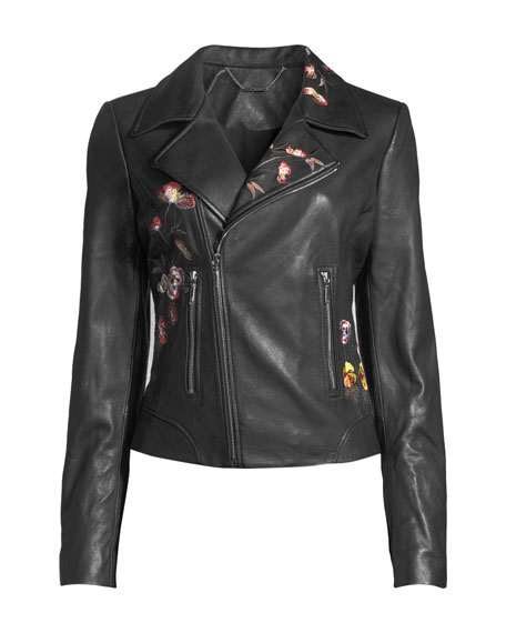 Mae Zip-Front Floral-Embroidered Lamb Leather Moto Jacket