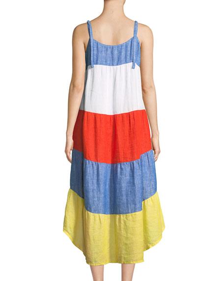 Eufonia Colorblock Linen High-Low Dress