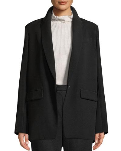 Shawl-Collar One-Button Boyfriend Blazer