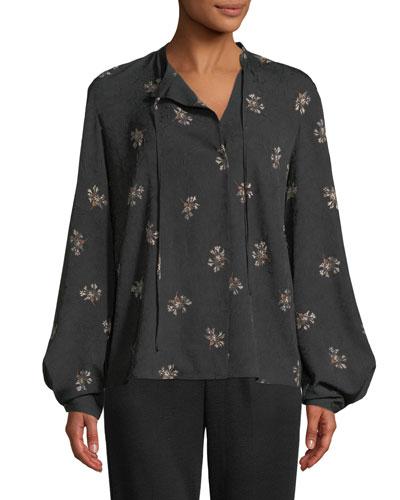 Tossed Bouquet Silk Tie-Neck Blouse