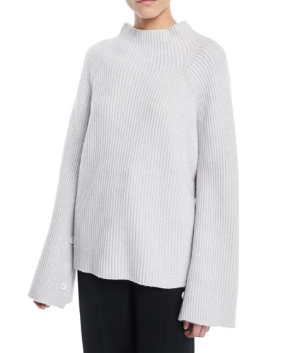 Ribbed Funnel-Neck Wool-Cashmere Sweater