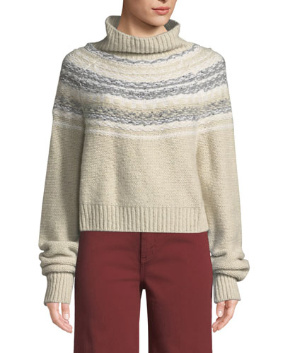 Cropped Fair Isle Turtleneck Sweater