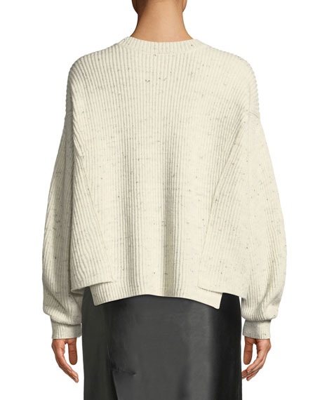 Paneled Crewneck Pullover Sweater