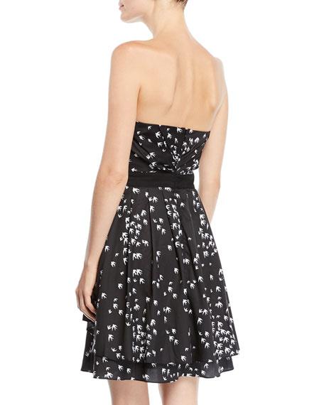 Strapless Mini Dress in Bird-Print Cotton