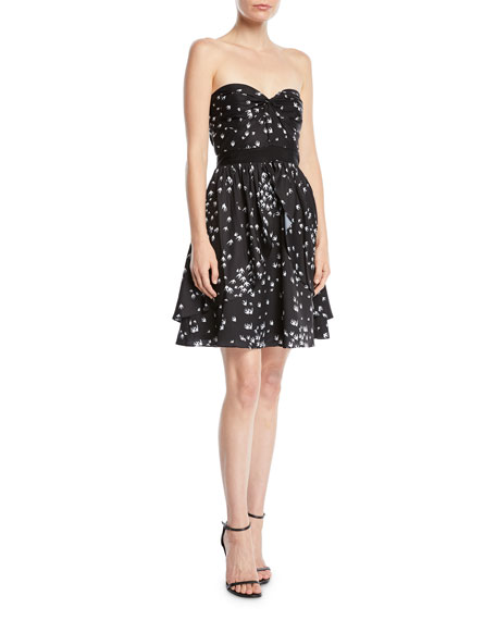 Aijek Strapless Mini Dress in Bird-Print Cotton