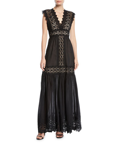 V-Neck Cotton Eyelet Maxi Dress