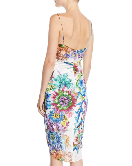 Twisted Tank Dress in Floral-Print Silk