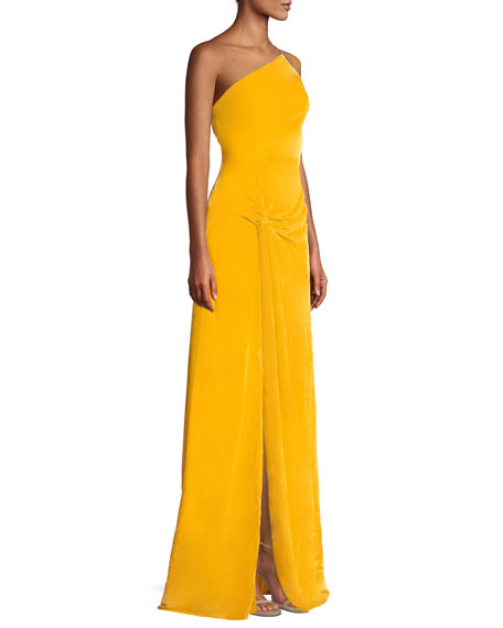 Liza One-Shoulder Knot-Front Gown