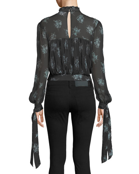 Natalie Shirred Floral-Print Blouse