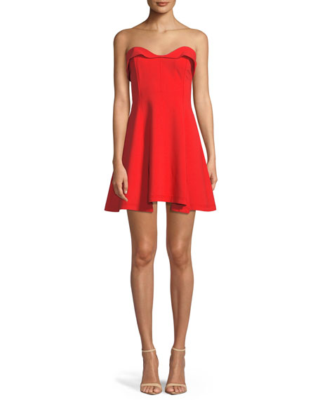 Ani Strapless Sweetheart Mini Dress, Red
