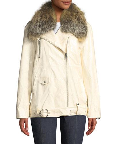 Emilia Patent Leather Jacket w/ Fox Fur Collar