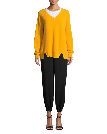 Tous Les Jours Neely Long-Sleeve Split-Hem Cashmere Sweater