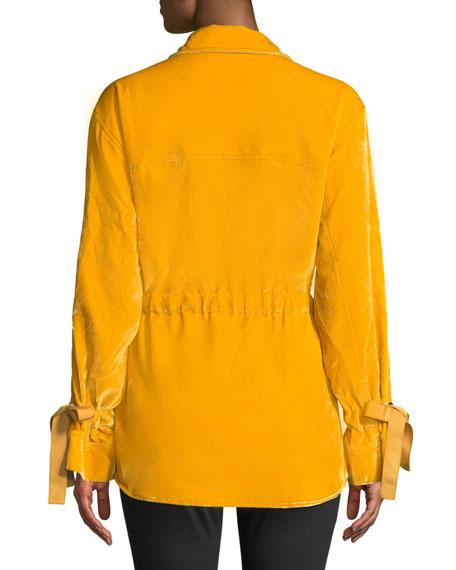 Mathieu Tie-Front Velvet Utility Jacket
