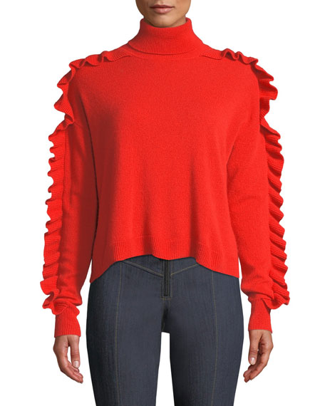 Tous Les Jours Savanna Ruffle-Trim Cashmere Turtleneck Sweater