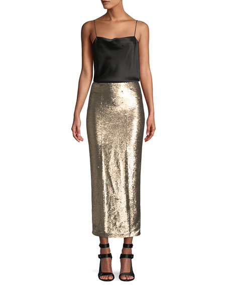 Paula Straight Sequin Long Skirt