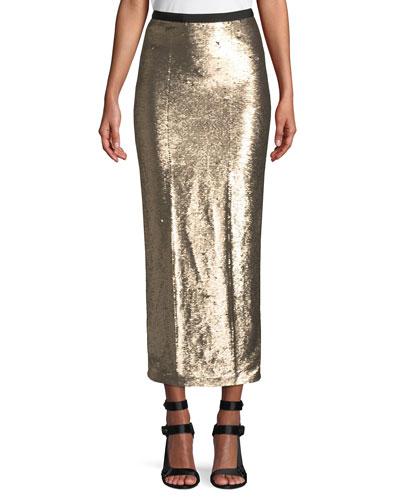 Paula Straight Sequin Long Skirt