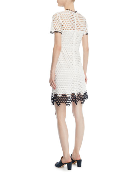 Carter Geo Lace Dress w/ Contrast Trim