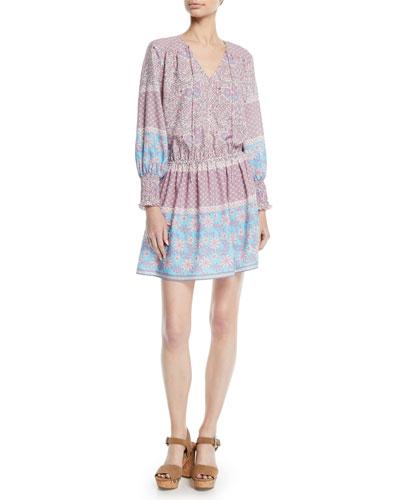 Torrance V-Neck Dress in Boho Floral Print