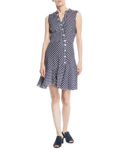 Ayden Asymmetric Gingham Dress