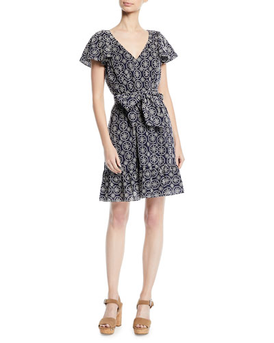 Orly Geometric V-Neck Dress