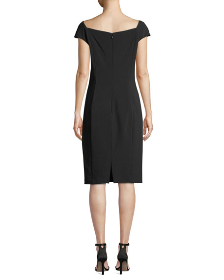 Sheath Dress w/ Draped Collar