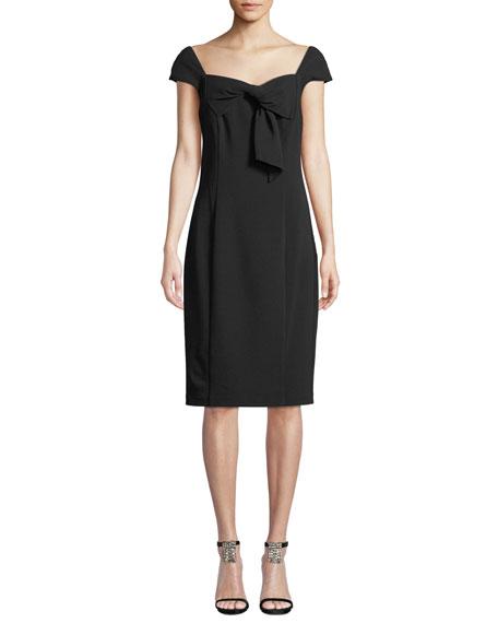 Badgley Mischka Collection Sheath Dress w/ Draped Collar