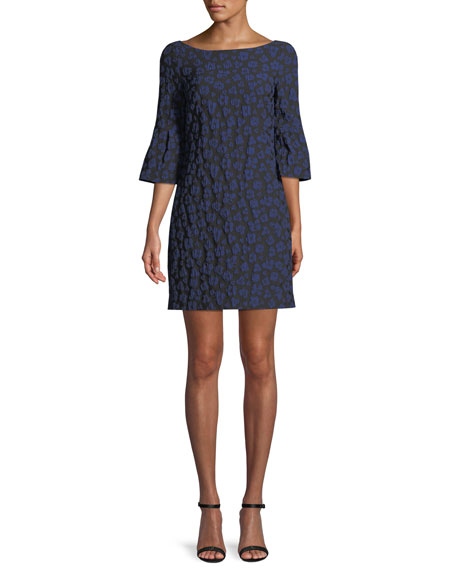 Badgley Mischka Collection Bell-Sleeve Floral Stretch Dress
