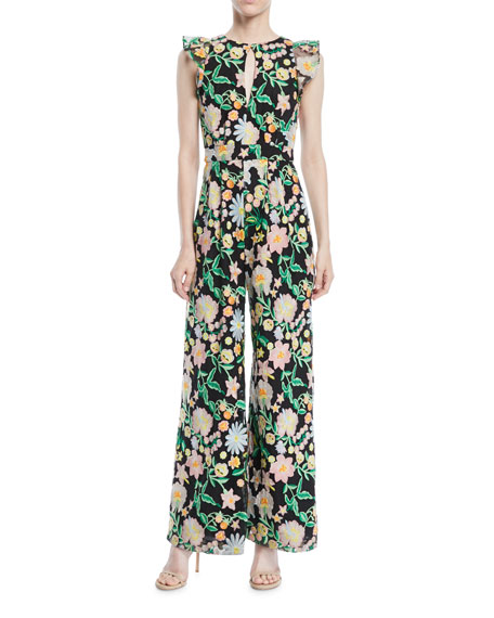 Floral Jumpsuit w/ Keyhole Front & Flounce Sleeves