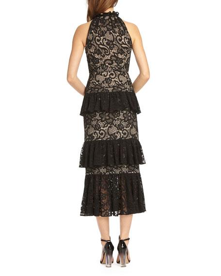 Sleeveless Lace Midi Cocktail Dress w/ Tiered Ruffle Skirt