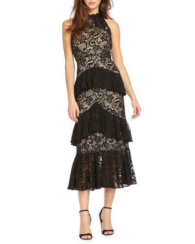 Sleeveless Lace Midi Cocktail Dress w/ Tiered Ruffle Skirt