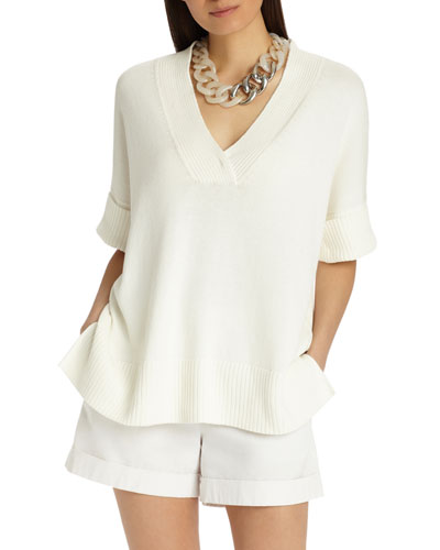Half-Sleeve Cotton/Silk Relaxed V-Neck Sweater