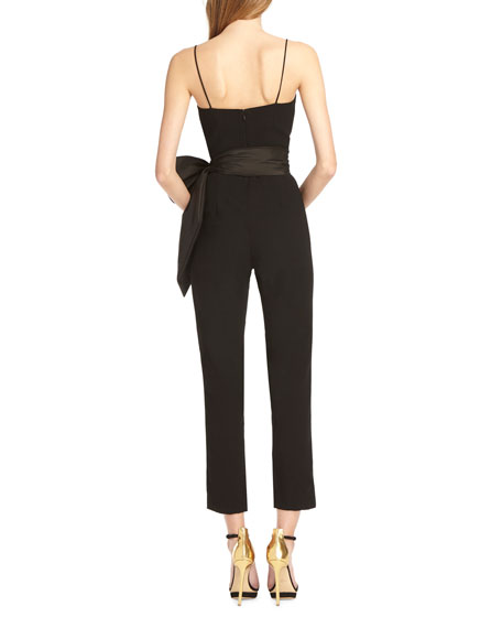 Sleeveless Jumpsuit w/ Taffeta Bow