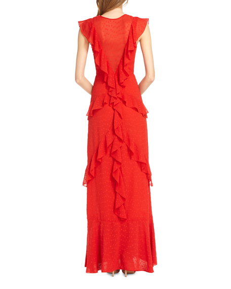 Draped Ruffle Gown w/ Cap Sleeves