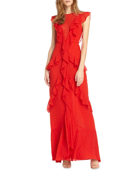 ML MONIQUE LHUILLIER Draped Ruffle Gown W/ Cap Sleeves in Sangria