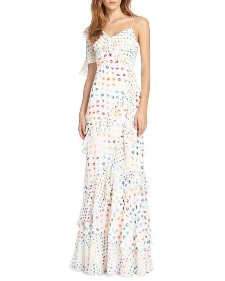 Asymmetric Ruffle Dress w/ Dots