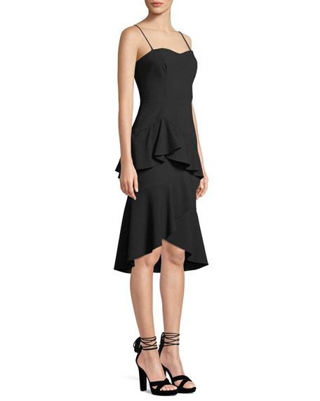Barbados Slip Dress w/ Asymmetric Ruffle Hem