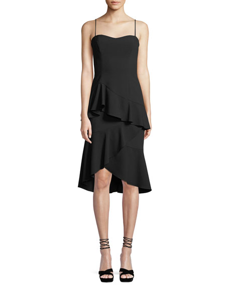 Black Halo Barbados Slip Dress w/ Asymmetric Ruffle