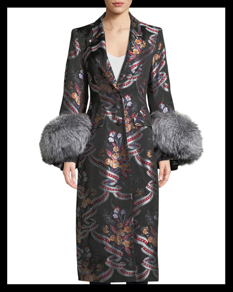 Blanche Floral Coat w/ Fox Fur Cuffs