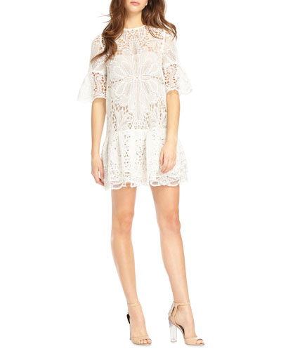 Short-Sleeve Lace Mini Dress