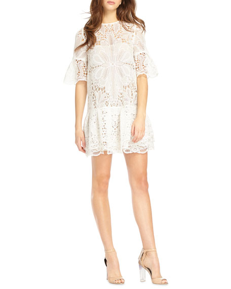 ML Monique Lhuillier Short-Sleeve Lace Mini Dress