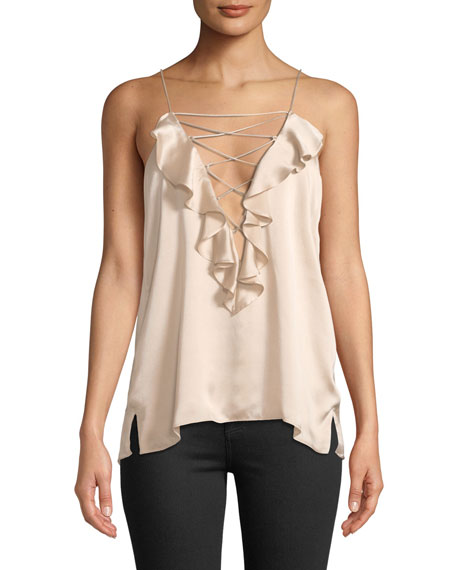 The Vera Silk Lace-Up Ruffle Cami Top