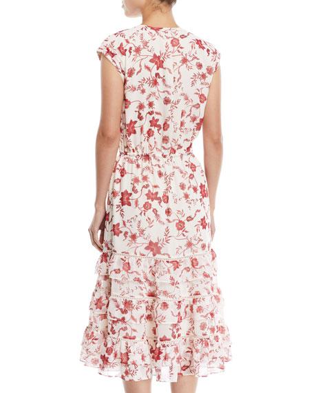 Sophie Cap-Sleeve Tiered Floral Midi Dress