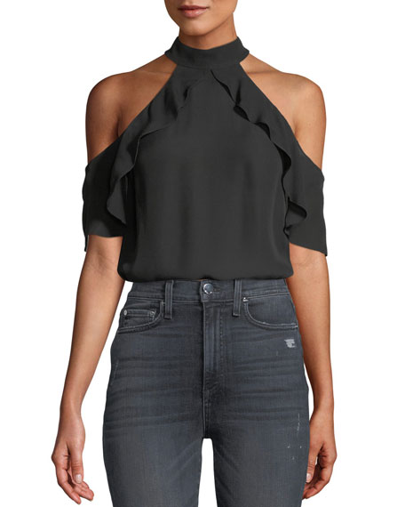Alice + Olivia Cabot Cold-Shoulder Ruffle Silk Top