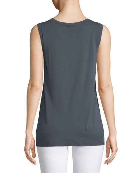 Matte Crepe Sheer-Trim Tank