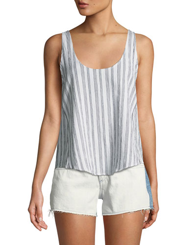 Valley Striped Poplin Tank