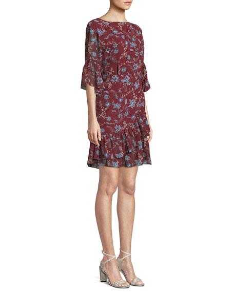 Wendy Floral-Print Flounce  Dress