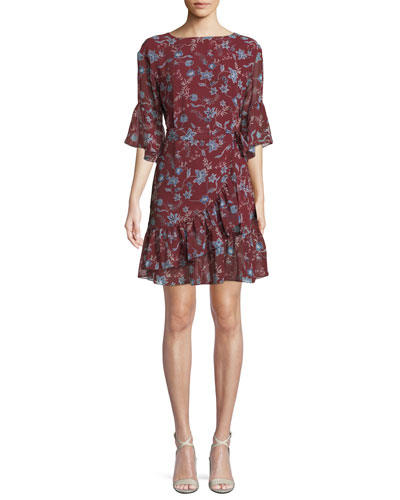 Wendy Floral-Print Flounce  Dress