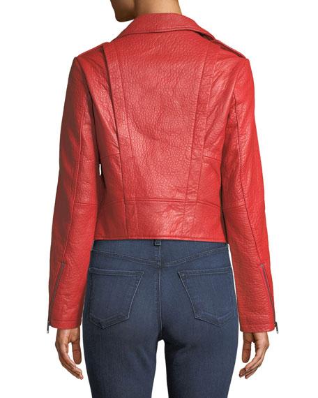 Wolf Zip-Front Leather Moto Jacket